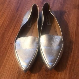 Steve Madden silver leather loafers